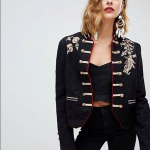 Free People Jackets & Coats - Free People Lauren Embroidered  Band Jacket